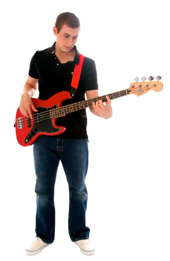 How to hold a bass guitar while standing