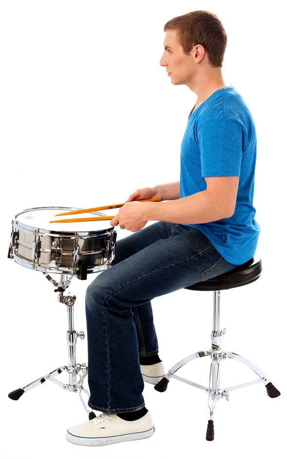 How to sit behind a snare drum.