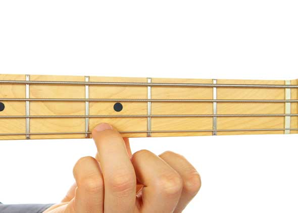 Left Hand Finger Position on Bass Guitar Fretboard